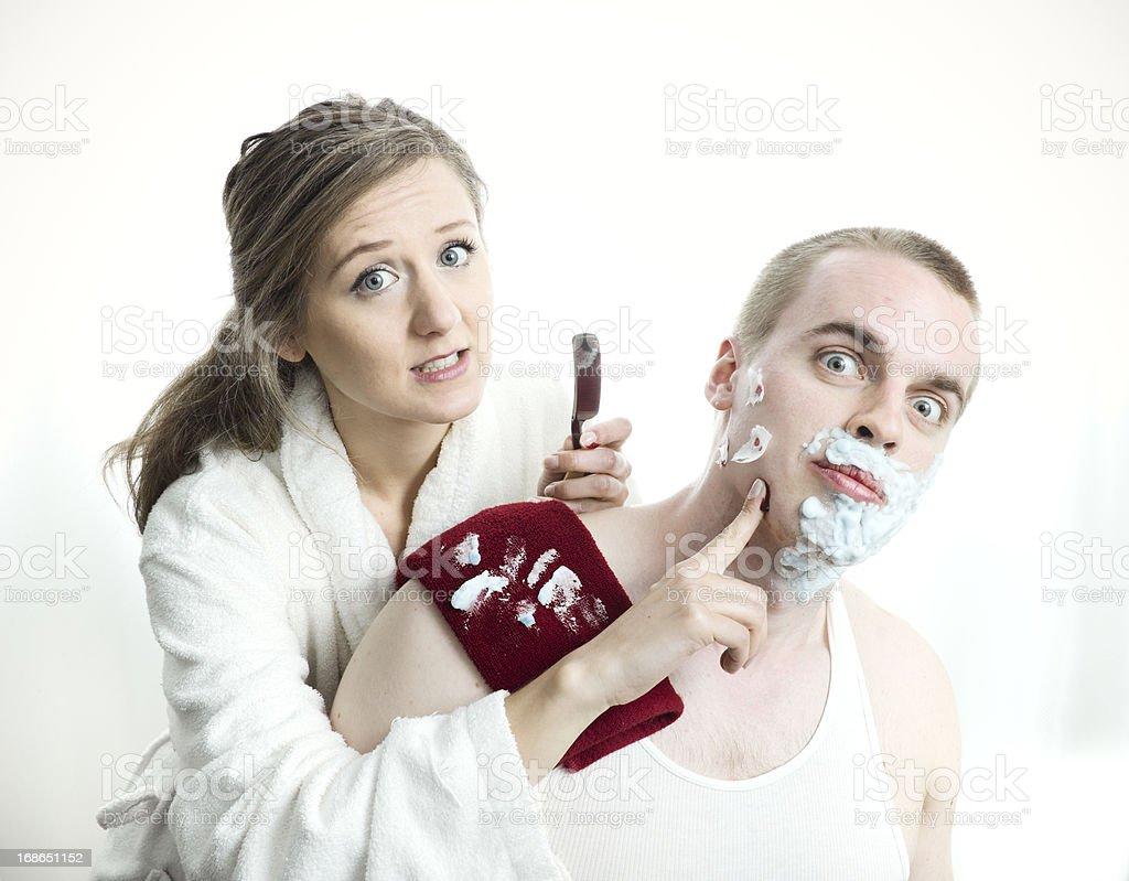 Straight Razor Shave royalty-free stock photo