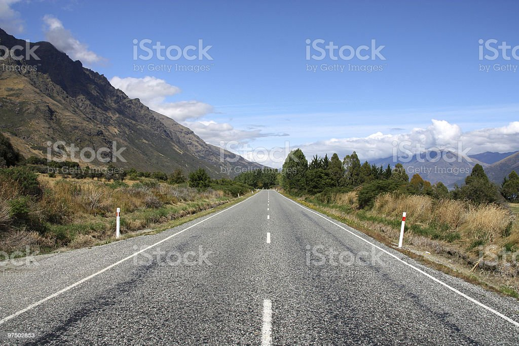 Straight road in New Zealand royalty-free stock photo