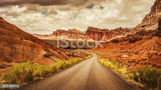 Straight road in the Capitol Reef National park, Utah