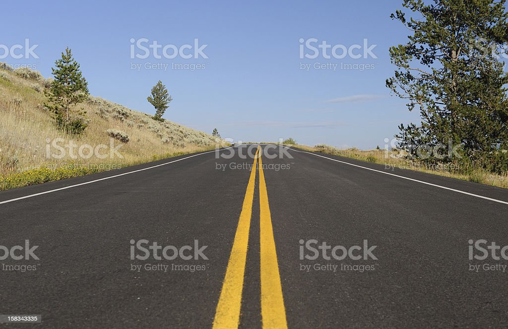 Straight Road Through the American West stock photo