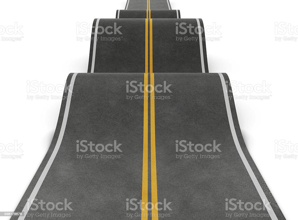 Straight road with irregularities. Bumpy road with ups and downs royalty-free stock photo