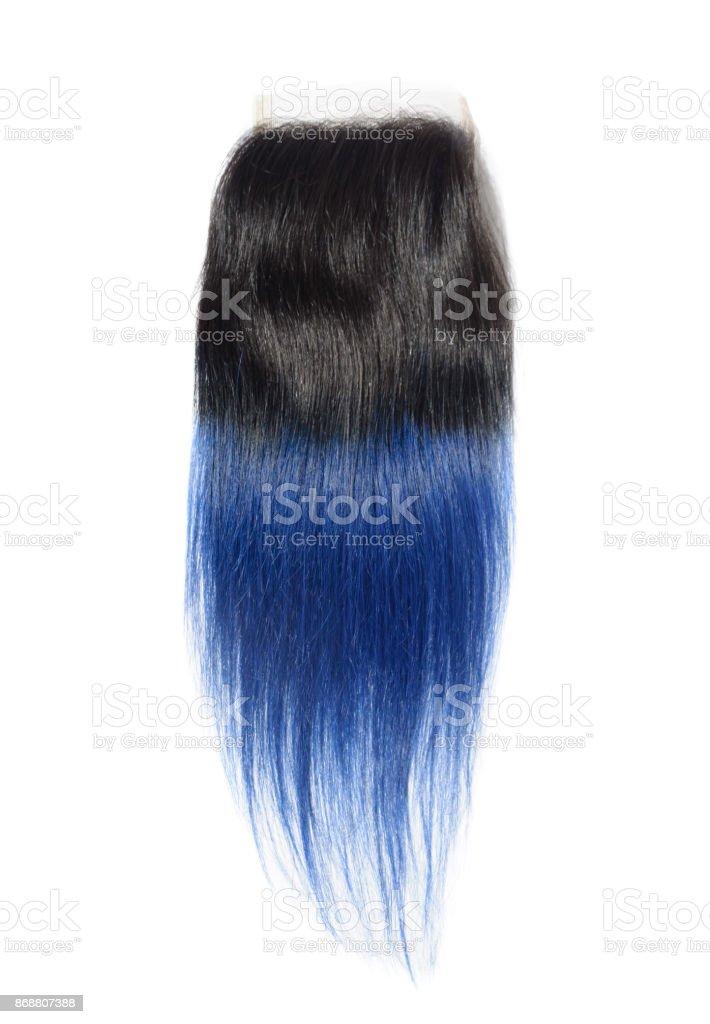 Gerade Zwei Ton Ombre Schwarz Mit Blauen Menschliches Haar