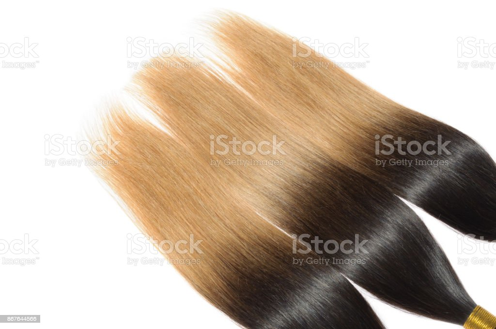 Straight Two Tone Ombre Black With Light Brown Human Hair Weave Extension  Bundles Royalty Free