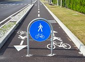 Straight two way cycle lane with traffic street signs. Copy space.