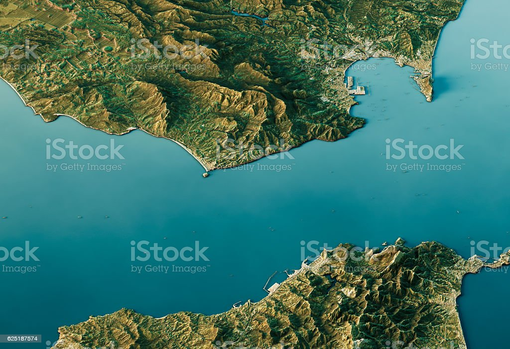 Strait Of Gibraltar 3D Landscape View South-North Natural Color stock photo