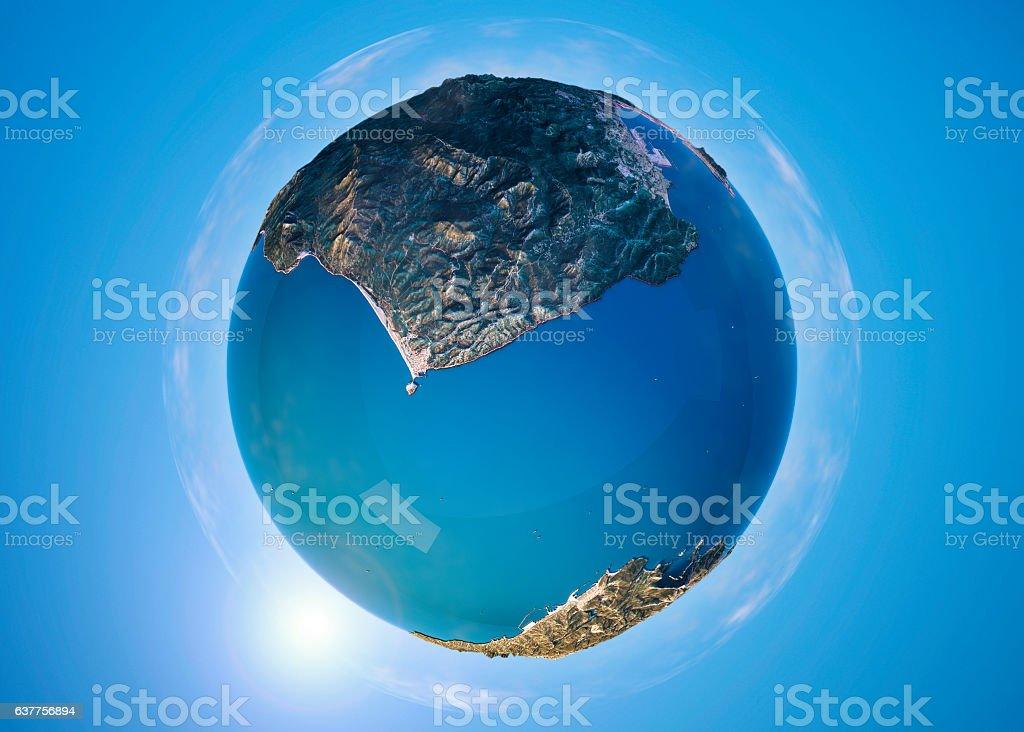 Strait Of Gibraltar 3D Little Planet 360-Degree Sphere Panorama stock photo