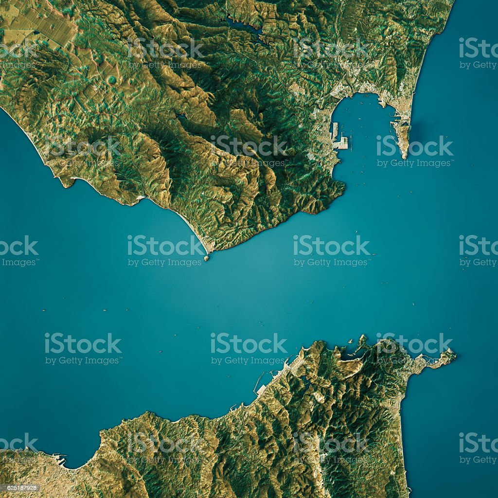Strait Of Gibraltar Topographic Map Natural Color Top View stock photo
