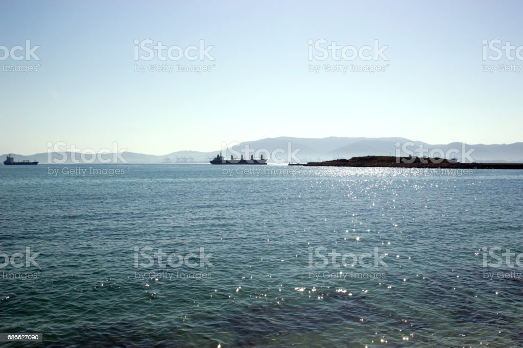 strait of Gibraltar with two ships from Spain royalty-free stock photo