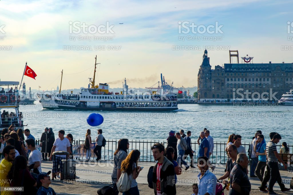 Strait of Istanbul, Kadikoy Pier and Ferries. stock photo