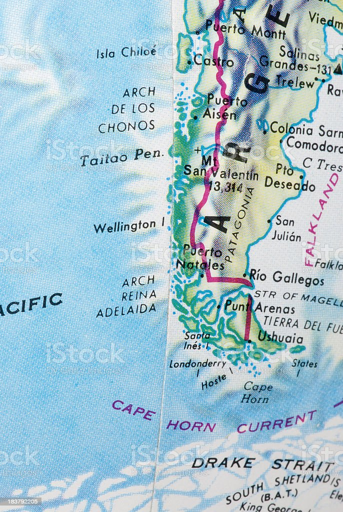 Strait of Magellan and Cape Horn map on a globe stock photo