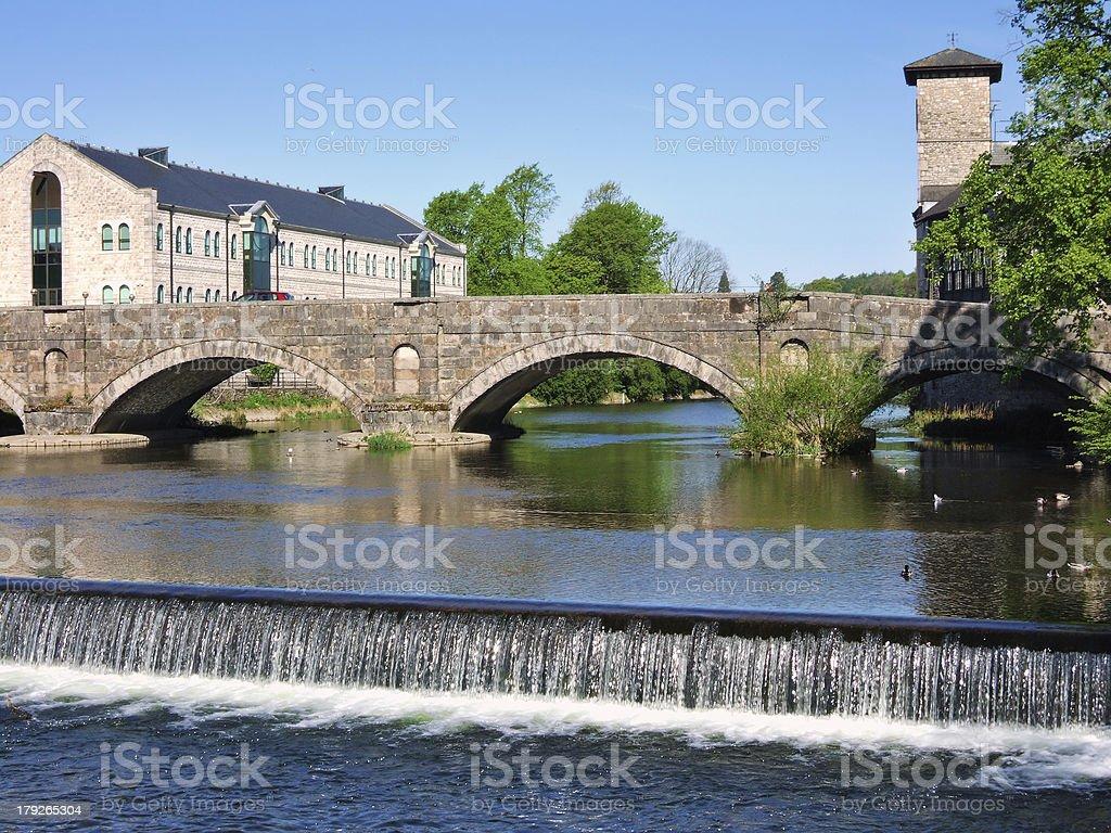 Stramongate bridge and weir, Kendal stock photo