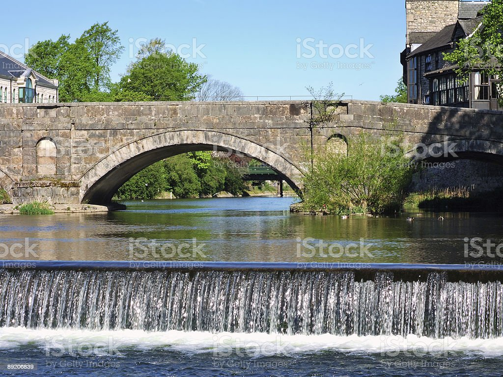 Stramongate bridge and weir, Kendal stock photo