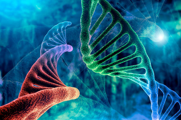 dna strand and cancer cell oncology research concept 3d rendering, abstract background, mixing of two structures, - dna foto e immagini stock