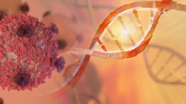 DNA strand and Cancer Cell stock photo