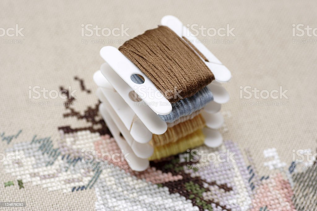 Strand embroidery floss cards royalty-free stock photo