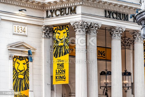 London, UK - September 12, 2018: Street road with sign in the Strand in Covent Garden for Disney Lion King Lyceum theatre