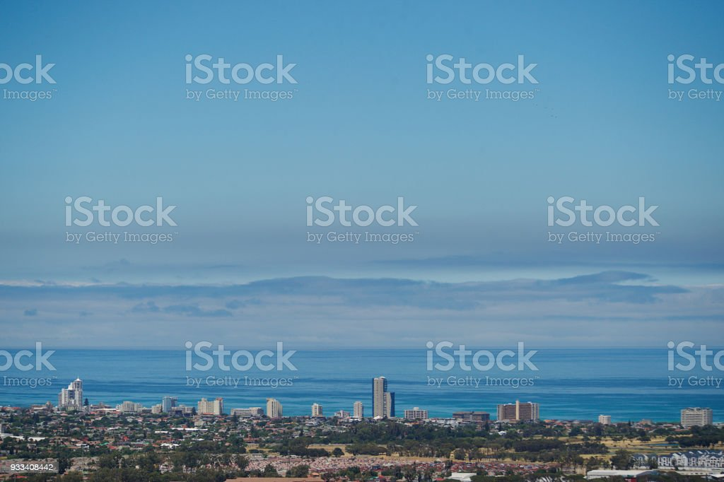 Strand ocean and skyline view from Somerset West more sky stock photo