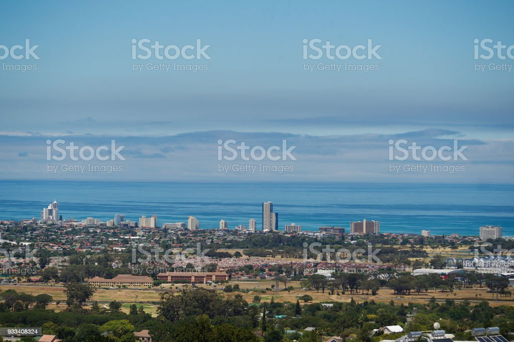Strand ocean and skyline view from Somerset West stock photo