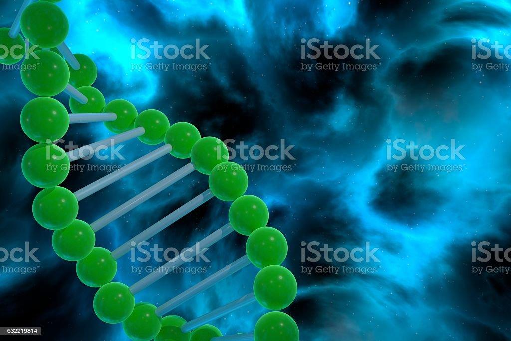 DNA strand spiral over nebula background. CRISPR prokaryotic DNA containing stock photo