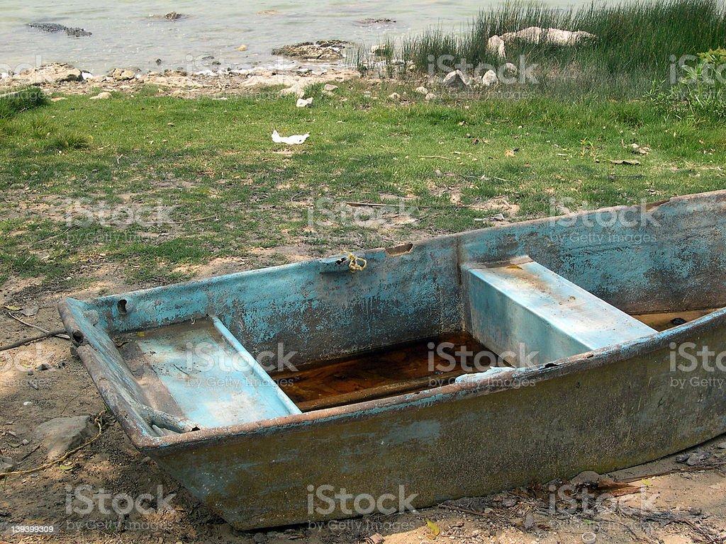 stranded boat in mexico royalty-free stock photo