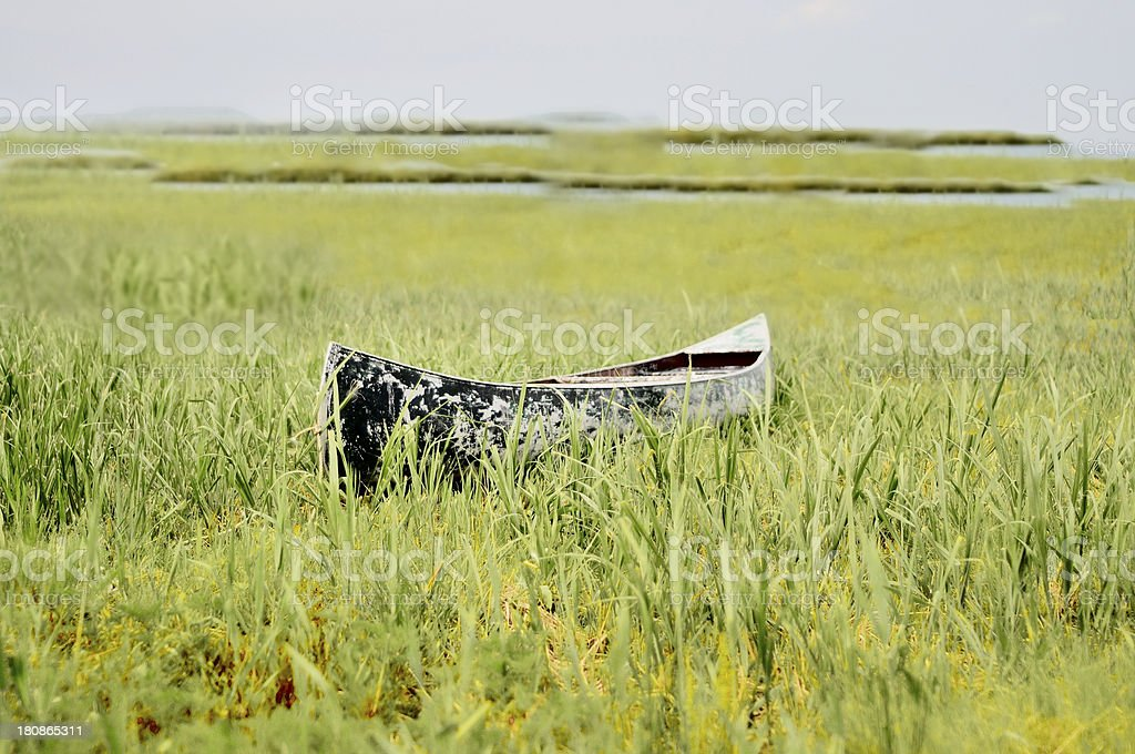 Stranded Canoe royalty-free stock photo