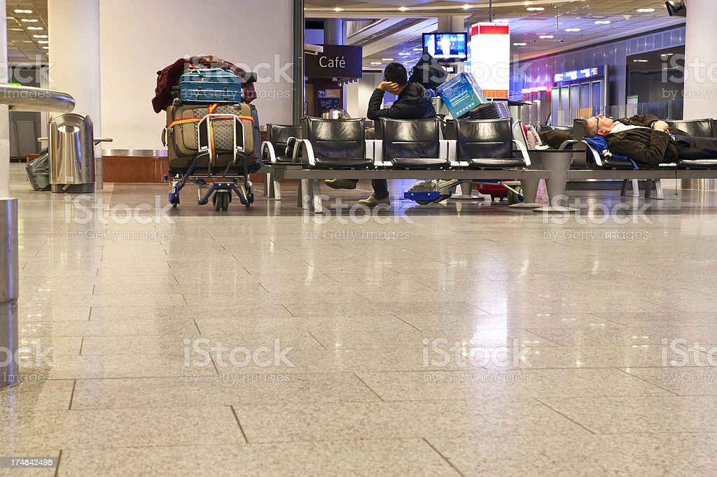 Stranded passengers at the airport royalty-free stock photo