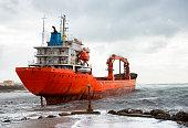 Stranded ship after a storm