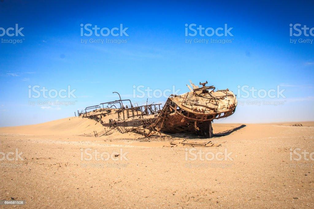 Stranded ship Eduard Bohlen in the Namib desert. stock photo