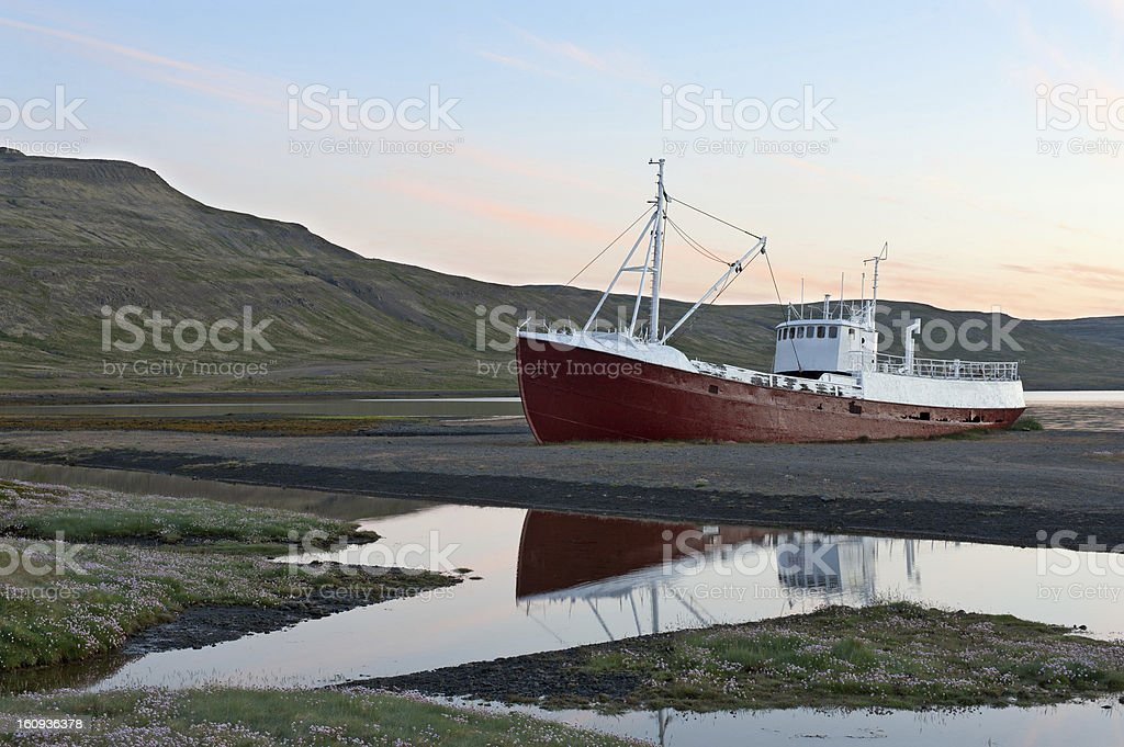 Stranded shipwreck in iceland stock photo