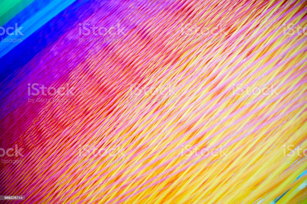 Strands of colorful  Yarn on a Loom stock photo