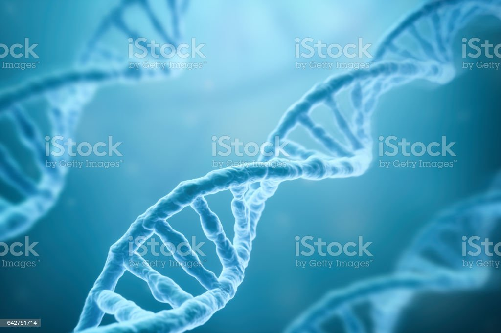 DNA Strands on blue background stock photo