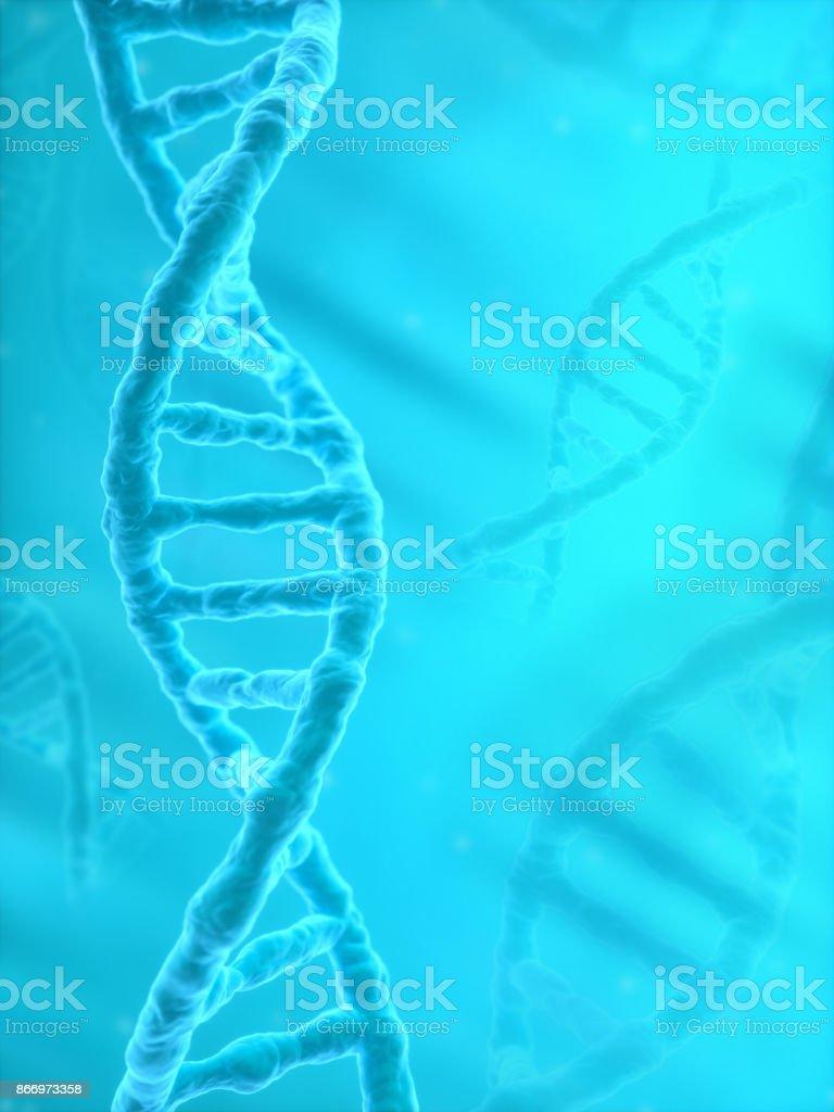 DNA Strands on blue background stock photo