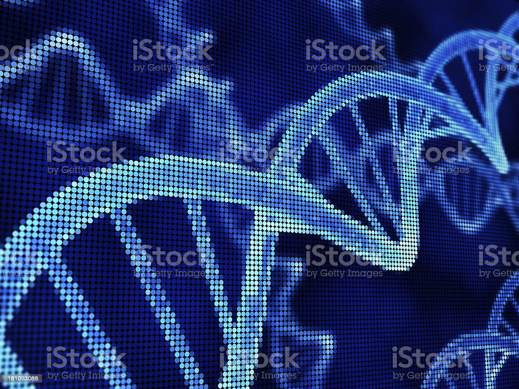 DNA Strands, pixelated royalty-free stock photo