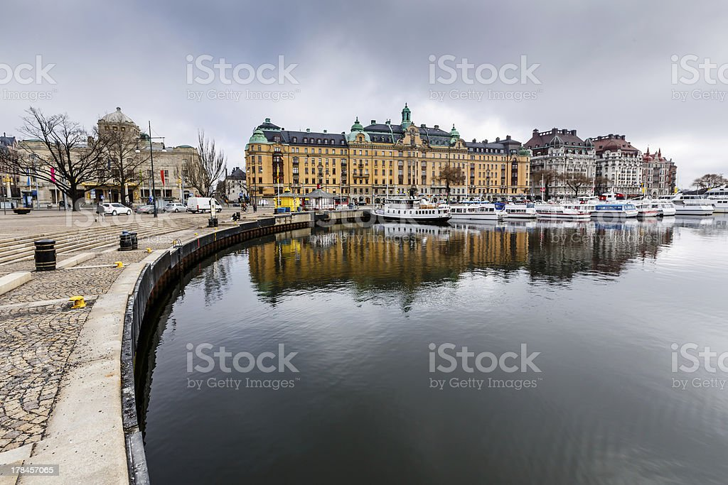 Strandvagen Embankment with Many Luxury Yachts in Stockholm stock photo