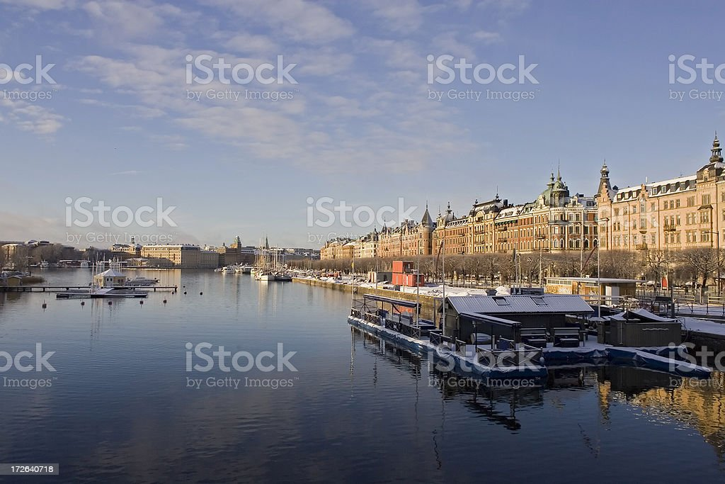 Strandvagen in Stockholm winter royalty-free stock photo