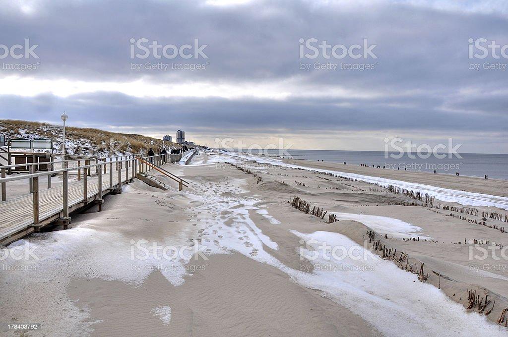 Strandwanderung im Winter nach Westerland auf Sylt stock photo