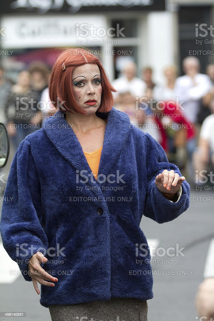 Strange actress in the street royalty-free stock photo