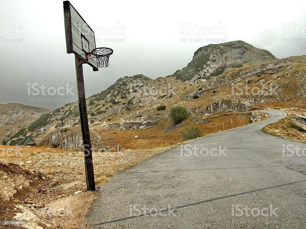 Strange basketball court stock photo
