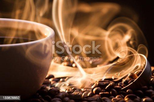 Strange golden smoke taking away from coffee seeds