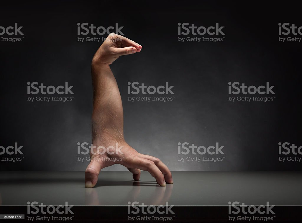 Strange human hands stock photo