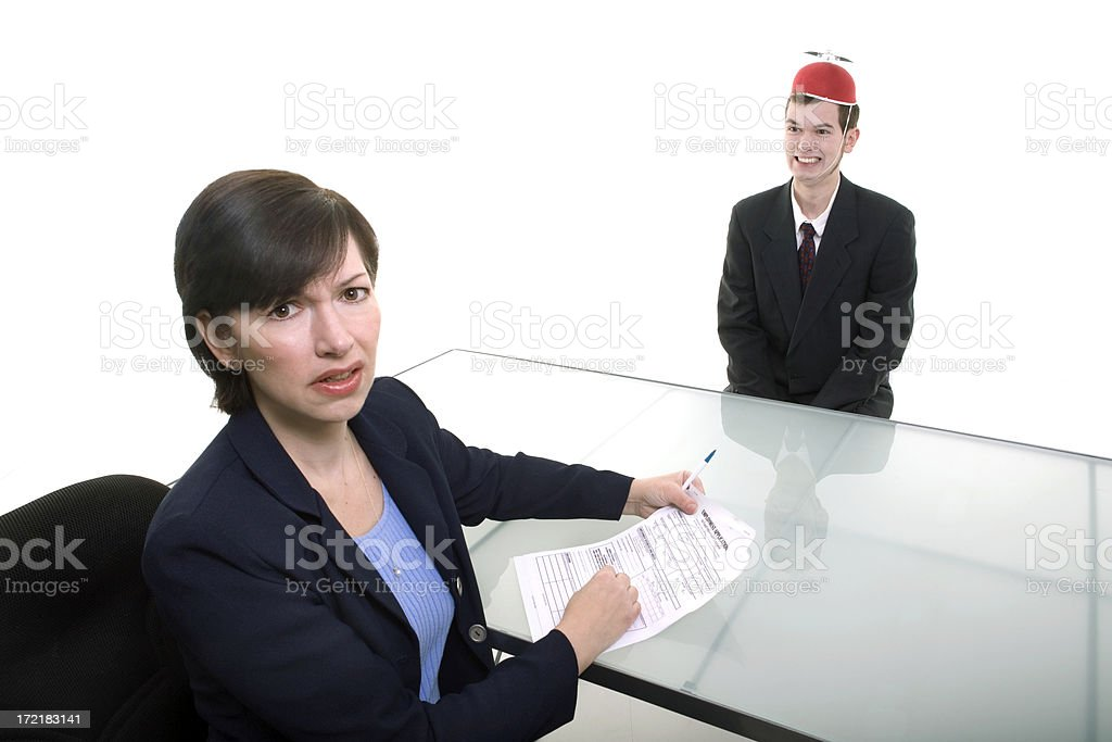 strange job applicant stock photo
