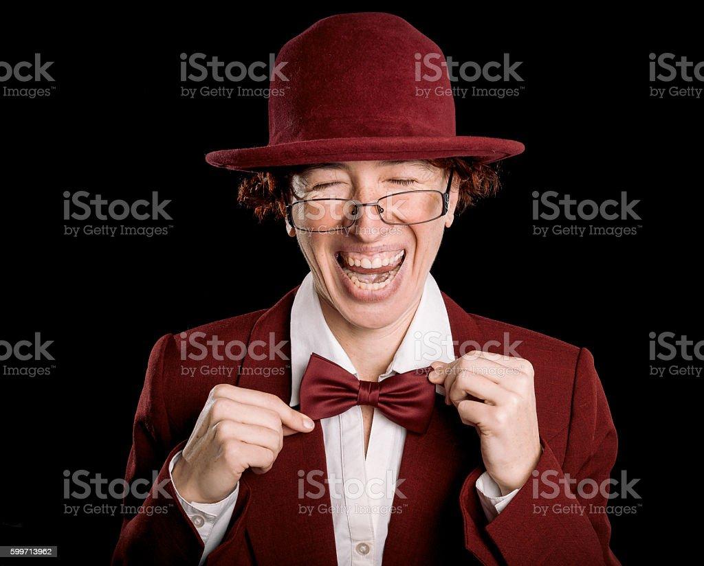 Strange laughing person stock photo