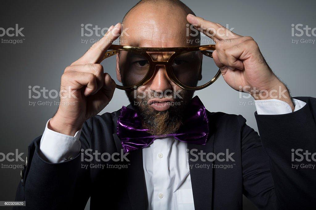 Strange man is praying. stock photo
