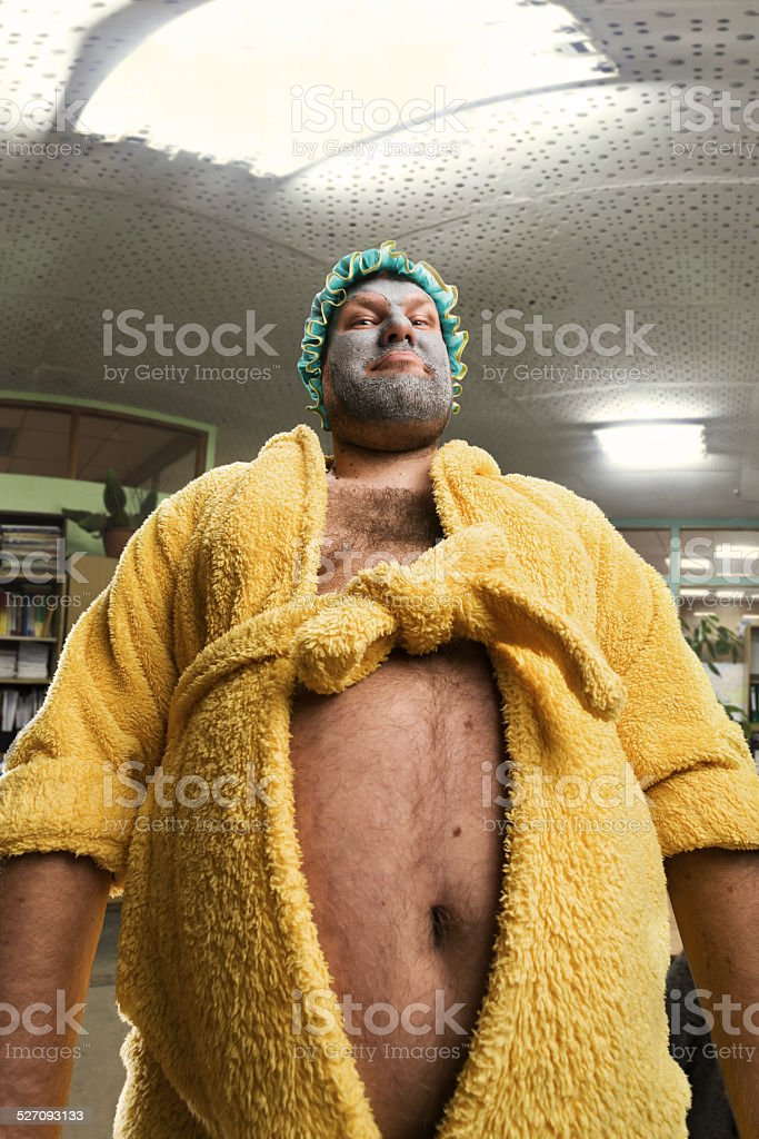 Strange man with face pack stock photo