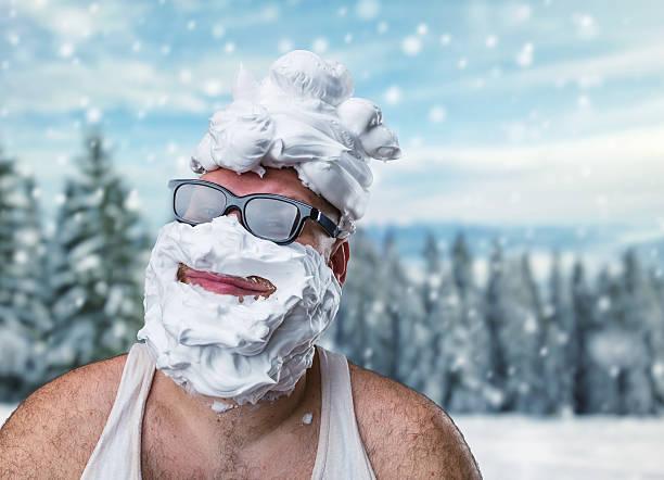 mit seltsamen mann auf seinem gesicht rasieren schaum - ausgefallene mode für mollige stock-fotos und bilder