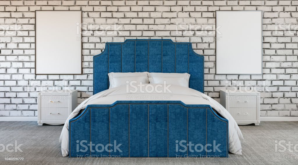 Quarto estranho design moderno, parede de tijolo, falta de cor, preto e branco e azul - foto de acervo