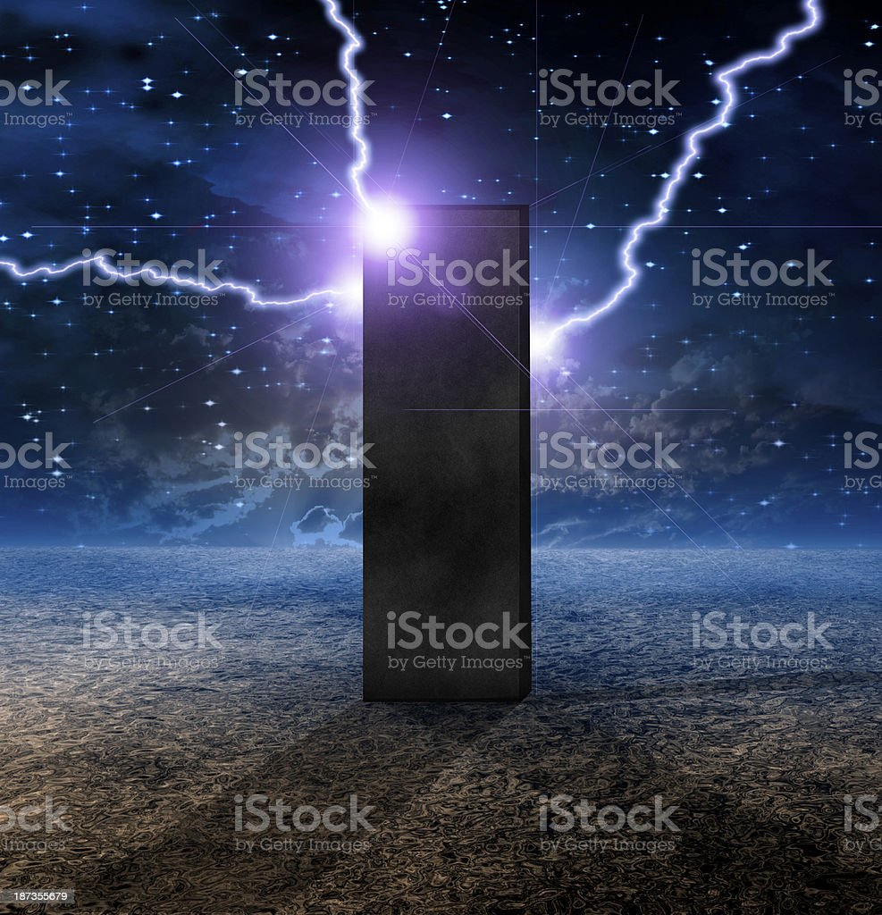 Strange Monolith on Lifeless Planet stock photo
