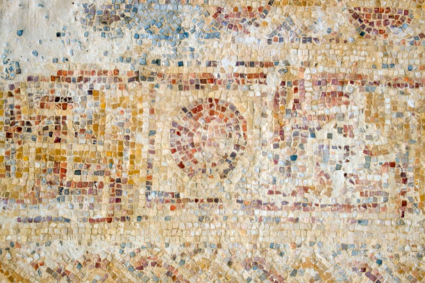 Strange pattern from a mosaic on the floor in the Nabatean city of Mamshit (Israel, 1st century BC) stock photo