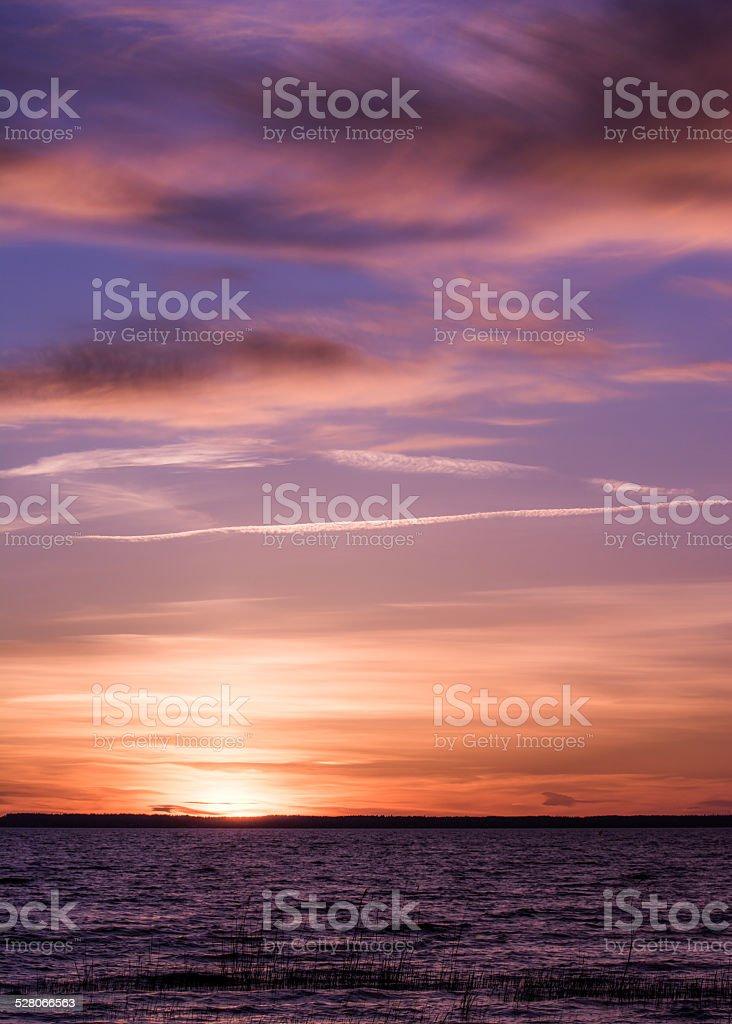 Strange pink sunset in Sweden royalty-free stock photo