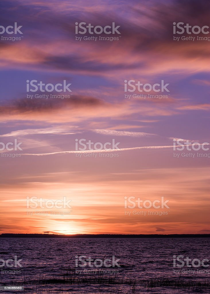 Strange pink sunset in Sweden stock photo